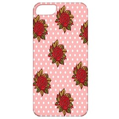 Pink Polka Dot Background With Red Roses Apple Iphone 5 Classic Hardshell Case