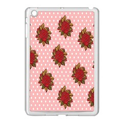 Pink Polka Dot Background With Red Roses Apple iPad Mini Case (White)