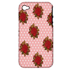 Pink Polka Dot Background With Red Roses Apple Iphone 4/4s Hardshell Case (pc+silicone)