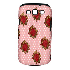 Pink Polka Dot Background With Red Roses Samsung Galaxy S III Classic Hardshell Case (PC+Silicone)