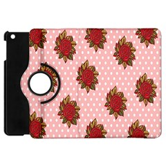 Pink Polka Dot Background With Red Roses Apple Ipad Mini Flip 360 Case