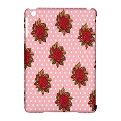Pink Polka Dot Background With Red Roses Apple iPad Mini Hardshell Case (Compatible with Smart Cover)