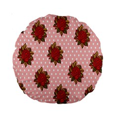 Pink Polka Dot Background With Red Roses Standard 15  Premium Round Cushions