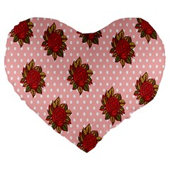 Pink Polka Dot Background With Red Roses Large 19  Premium Heart Shape Cushions