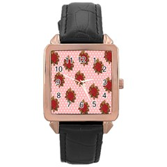 Pink Polka Dot Background With Red Roses Rose Gold Leather Watch