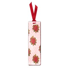 Pink Polka Dot Background With Red Roses Small Book Marks