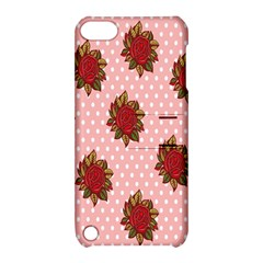 Pink Polka Dot Background With Red Roses Apple iPod Touch 5 Hardshell Case with Stand