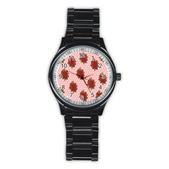 Pink Polka Dot Background With Red Roses Stainless Steel Round Watch