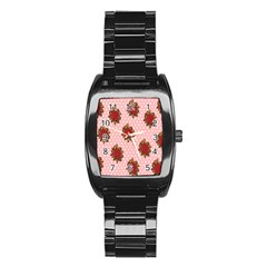 Pink Polka Dot Background With Red Roses Stainless Steel Barrel Watch