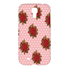 Pink Polka Dot Background With Red Roses Samsung Galaxy S4 I9500/I9505 Hardshell Case