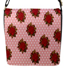 Pink Polka Dot Background With Red Roses Flap Messenger Bag (S)