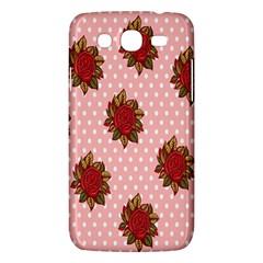 Pink Polka Dot Background With Red Roses Samsung Galaxy Mega 5 8 I9152 Hardshell Case