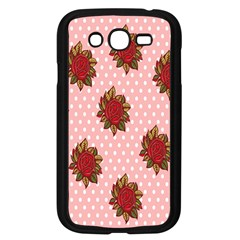 Pink Polka Dot Background With Red Roses Samsung Galaxy Grand DUOS I9082 Case (Black)