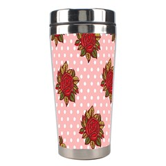 Pink Polka Dot Background With Red Roses Stainless Steel Travel Tumblers