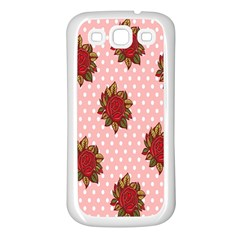 Pink Polka Dot Background With Red Roses Samsung Galaxy S3 Back Case (white)