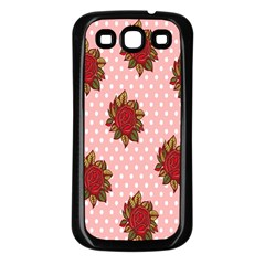 Pink Polka Dot Background With Red Roses Samsung Galaxy S3 Back Case (black)