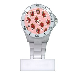 Pink Polka Dot Background With Red Roses Plastic Nurses Watch
