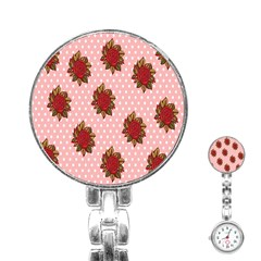 Pink Polka Dot Background With Red Roses Stainless Steel Nurses Watch