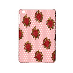Pink Polka Dot Background With Red Roses Ipad Mini 2 Hardshell Cases