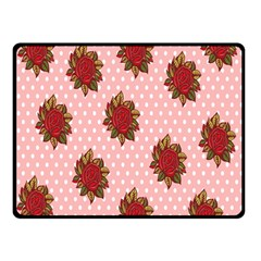 Pink Polka Dot Background With Red Roses Double Sided Fleece Blanket (Small)