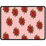Pink Polka Dot Background With Red Roses Double Sided Fleece Blanket (Large)  80 x60 Blanket Front