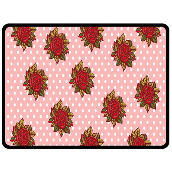 Pink Polka Dot Background With Red Roses Double Sided Fleece Blanket (Large)