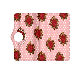 Pink Polka Dot Background With Red Roses Kindle Fire HDX 8.9  Flip 360 Case