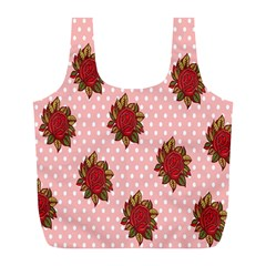 Pink Polka Dot Background With Red Roses Full Print Recycle Bags (L)