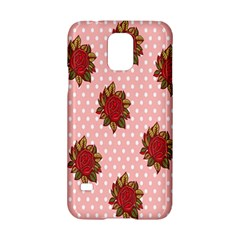 Pink Polka Dot Background With Red Roses Samsung Galaxy S5 Hardshell Case