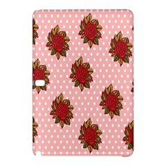 Pink Polka Dot Background With Red Roses Samsung Galaxy Tab Pro 10 1 Hardshell Case