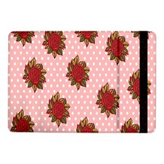 Pink Polka Dot Background With Red Roses Samsung Galaxy Tab Pro 10.1  Flip Case