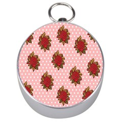Pink Polka Dot Background With Red Roses Silver Compasses