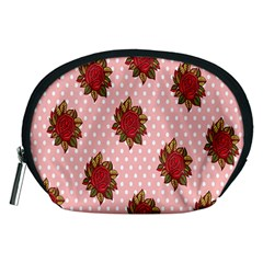 Pink Polka Dot Background With Red Roses Accessory Pouches (Medium)