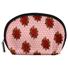 Pink Polka Dot Background With Red Roses Accessory Pouches (large)