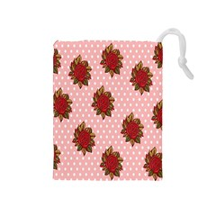 Pink Polka Dot Background With Red Roses Drawstring Pouches (Medium)