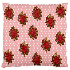 Pink Polka Dot Background With Red Roses Large Flano Cushion Case (One Side)