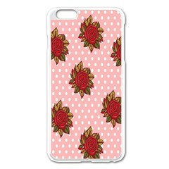 Pink Polka Dot Background With Red Roses Apple iPhone 6 Plus/6S Plus Enamel White Case
