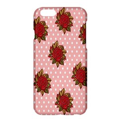 Pink Polka Dot Background With Red Roses Apple iPhone 6 Plus/6S Plus Hardshell Case