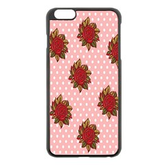 Pink Polka Dot Background With Red Roses Apple iPhone 6 Plus/6S Plus Black Enamel Case