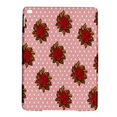 Pink Polka Dot Background With Red Roses iPad Air 2 Hardshell Cases