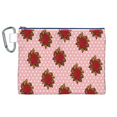 Pink Polka Dot Background With Red Roses Canvas Cosmetic Bag (xl)