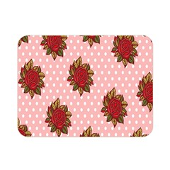 Pink Polka Dot Background With Red Roses Double Sided Flano Blanket (Mini)