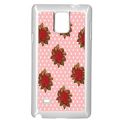 Pink Polka Dot Background With Red Roses Samsung Galaxy Note 4 Case (White)