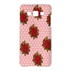 Pink Polka Dot Background With Red Roses Samsung Galaxy A5 Hardshell Case