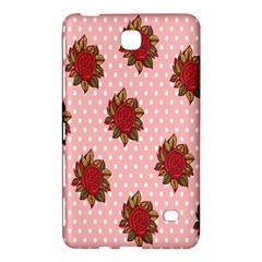 Pink Polka Dot Background With Red Roses Samsung Galaxy Tab 4 (7 ) Hardshell Case