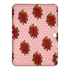 Pink Polka Dot Background With Red Roses Samsung Galaxy Tab 4 (10.1 ) Hardshell Case