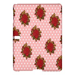 Pink Polka Dot Background With Red Roses Samsung Galaxy Tab S (10.5 ) Hardshell Case