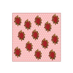 Pink Polka Dot Background With Red Roses Satin Bandana Scarf