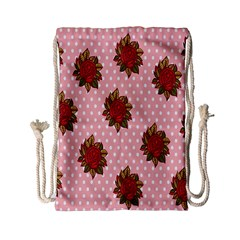 Pink Polka Dot Background With Red Roses Drawstring Bag (Small)