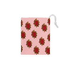 Pink Polka Dot Background With Red Roses Drawstring Pouches (XS)